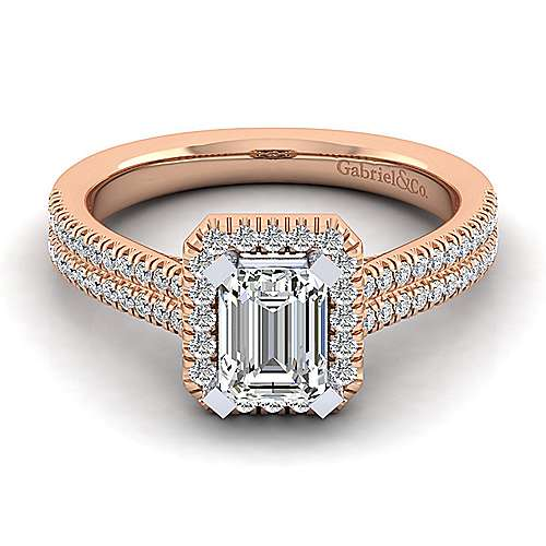 brianna 14k white and rose gold emerald cut halo engagement ring angle 1 - Rose Gold Wedding Rings