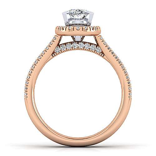 Brianna 14k White And Rose Gold Oval Halo Engagement Ring angle 2
