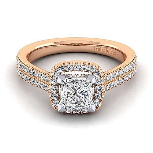 brianna 14k white and rose gold princess cut halo engagement ring angle 1 - Wedding Rings Rose Gold