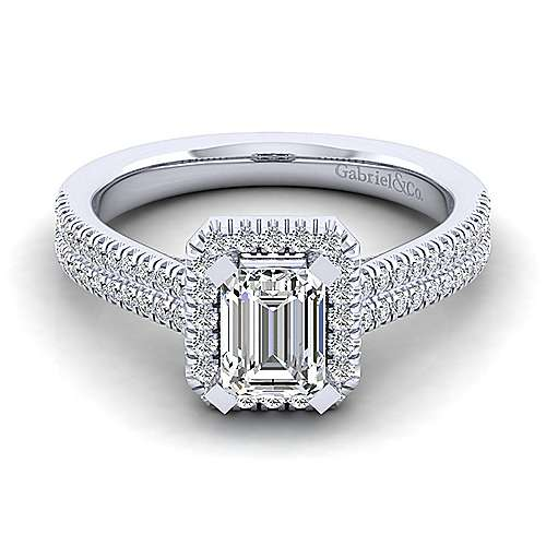 Gabriel - Brianna 14k White Gold Emerald Cut Halo Engagement Ring
