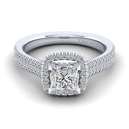 Gabriel - Brianna 14k White Gold Princess Cut Halo Engagement Ring