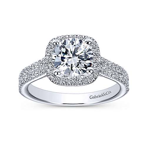 Brianna 14k White Gold Round Halo Engagement Ring angle 5