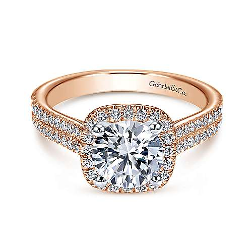 Gabriel - Brianna 14k White/rose Gold Round Halo Engagement Ring