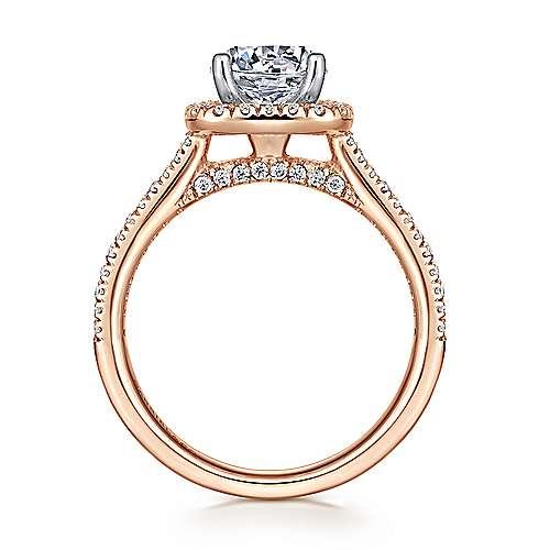 Brianna 14k White/rose Gold Round Halo Engagement Ring angle 2