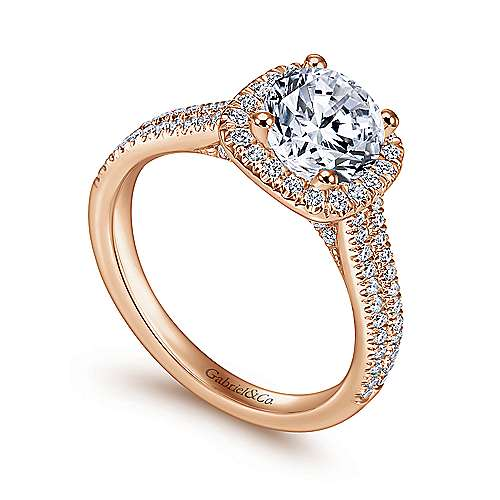 Brianna 14k White/rose Gold Round Halo Engagement Ring angle 3