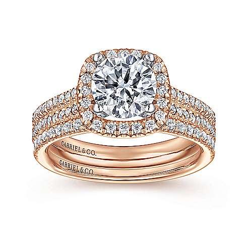 Brianna 14k White/rose Gold Round Halo Engagement Ring angle 4