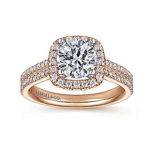 Brianna 14k White/rose Gold Round Halo Engagement Ring angle 5