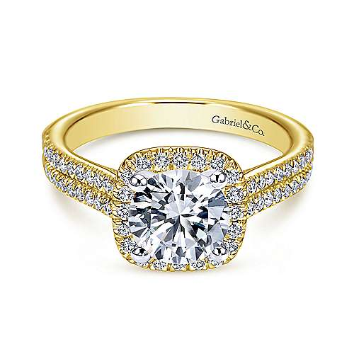 Gabriel - Brianna 14k Yellow And White Gold Round Halo Engagement Ring