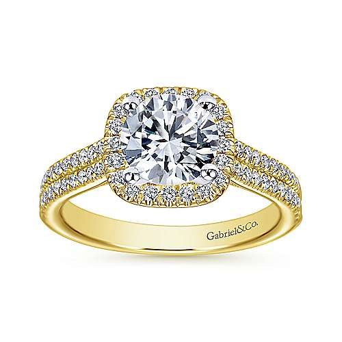 Brianna 14k Yellow And White Gold Round Halo Engagement Ring