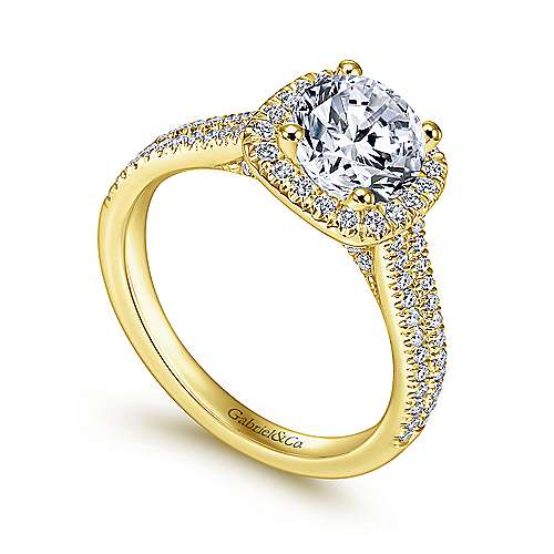 Brianna 14k Yellow/white Gold Round Halo Engagement Ring angle 3