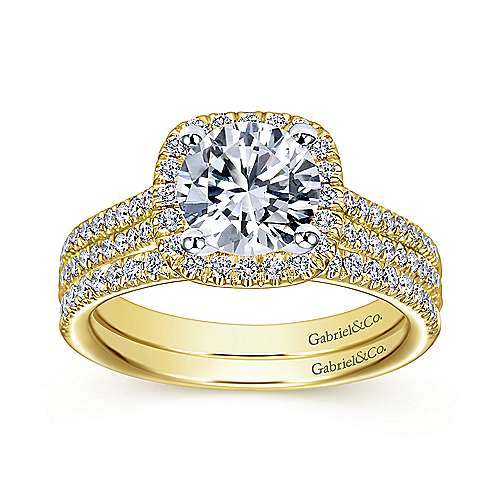 Brianna 14k Yellow/white Gold Round Halo Engagement Ring angle 4