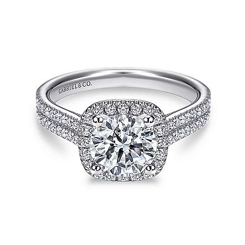Gabriel - Brianna Platinum Round Halo Engagement Ring