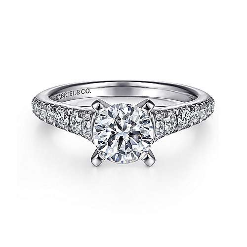 Gabriel - Bridget 14k White Gold Round Straight Engagement Ring