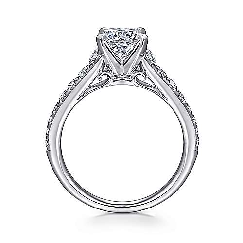 Bridget 14k White Gold Round Straight Engagement Ring angle 2