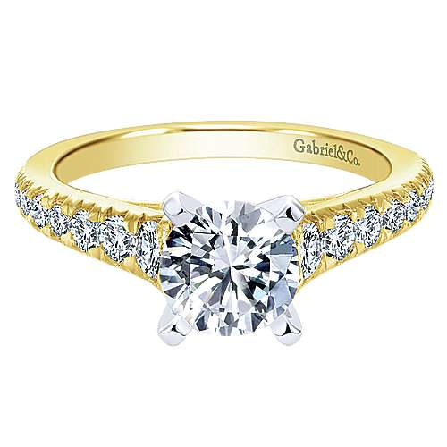 Gabriel - Bridget 14k Yellow Gold Round Straight Engagement Ring