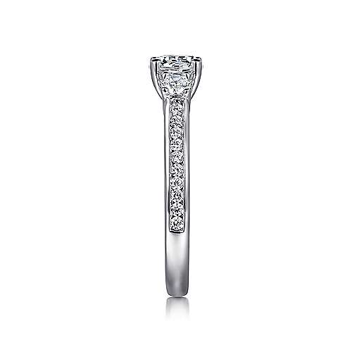 Brie 14k White Gold Round 3 Stones Engagement Ring angle 5