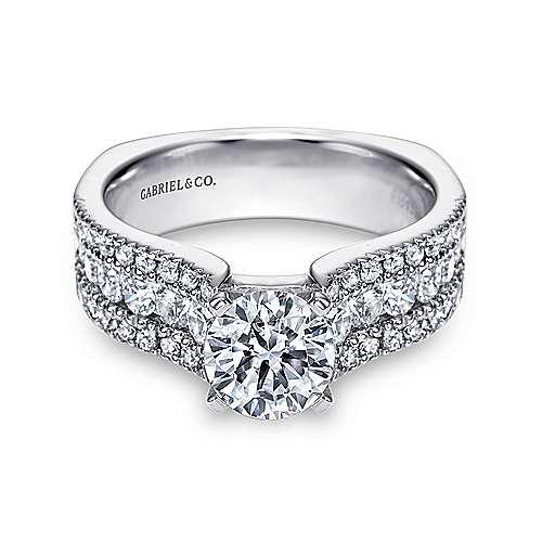 Gabriel - Brielle 14k White Gold Round Wide Band Engagement Ring
