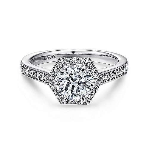 Gabriel - Brienne 14k White Gold Round Halo Engagement Ring