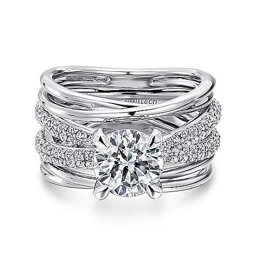 Gabriel - Bright 18k White Gold Round Split Shank Engagement Ring