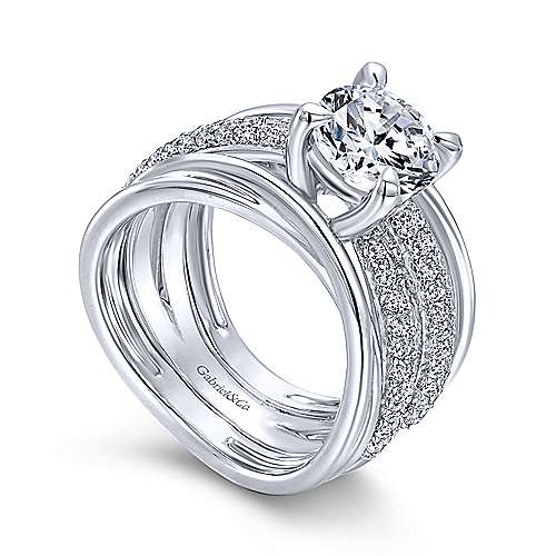 Bright 18k White Gold Round Split Shank Engagement Ring angle 3