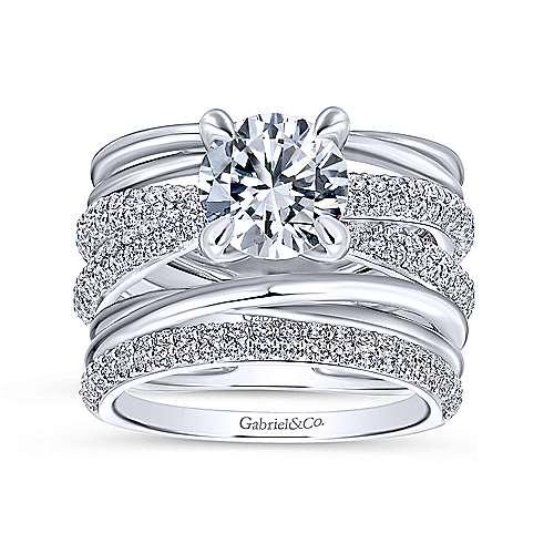 Bright 18k White Gold Round Split Shank Engagement Ring angle 4
