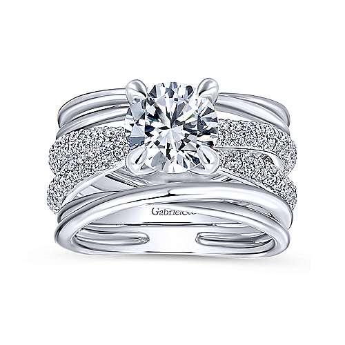 Bright 18k White Gold Round Split Shank Engagement Ring angle 5