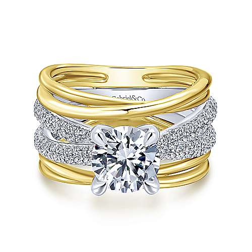 Bright 18k Yellow And White Gold Round Split Shank Engagement Ring angle 1