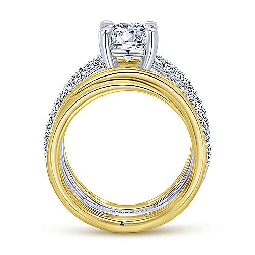 Bright 18k Yellow And White Gold Round Split Shank Engagement Ring angle 2