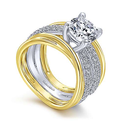Bright 18k Yellow And White Gold Round Split Shank Engagement Ring angle 3
