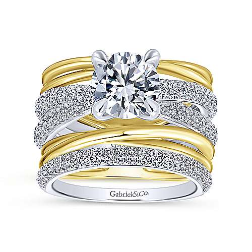Bright 18k Yellow And White Gold Round Split Shank Engagement Ring angle 4