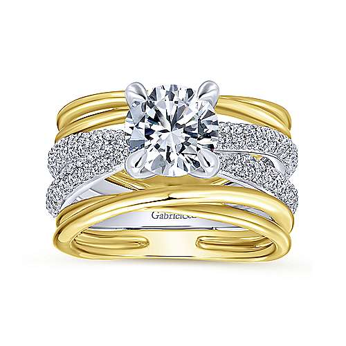 Bright 18k Yellow And White Gold Round Straight Engagement Ring angle 5