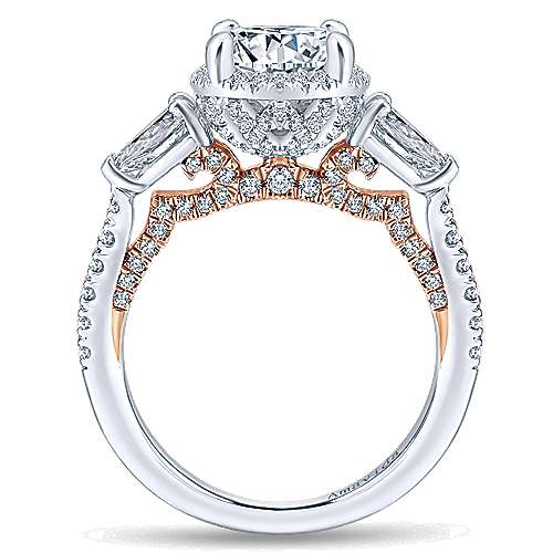 Brinley 18k White And Rose Gold Round Halo Engagement Ring angle 2