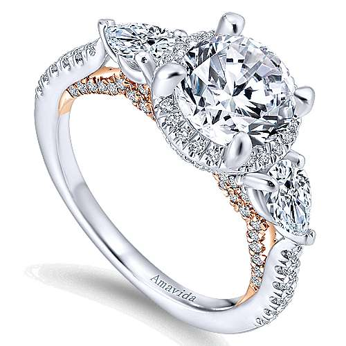 Brinley 18k White And Rose Gold Round Halo Engagement Ring angle 3