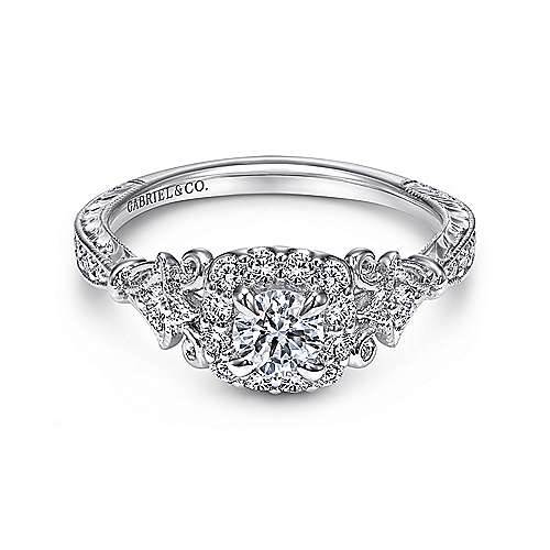 Gabriel - Briny 14k White Gold Round Halo Engagement Ring