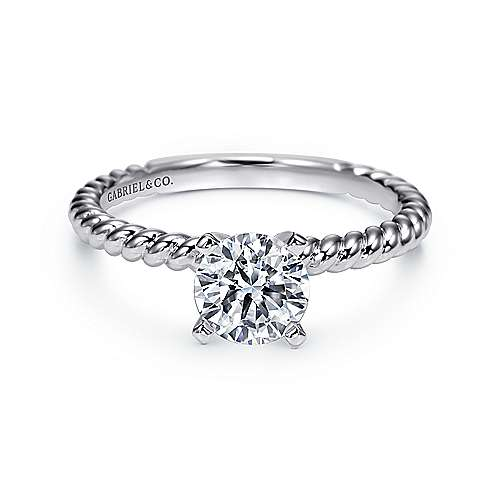 Gabriel - Briony 14k White Gold Round Solitaire Engagement Ring