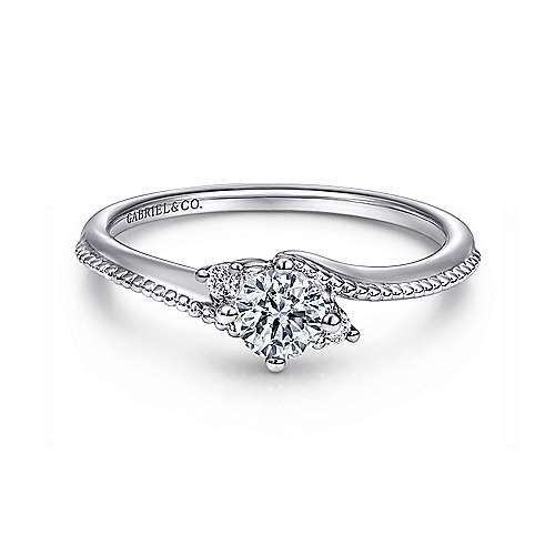 Brisbane 14k White Gold Round 3 Stones Engagement Ring angle 1