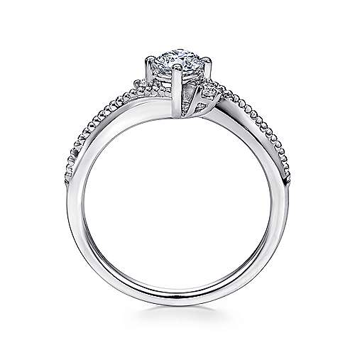 Brisbane 14k White Gold Round 3 Stones Engagement Ring angle 2