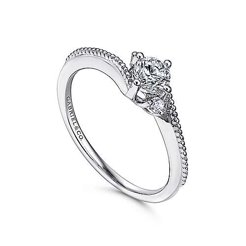 Brisbane 14k White Gold Round 3 Stones Engagement Ring angle 3