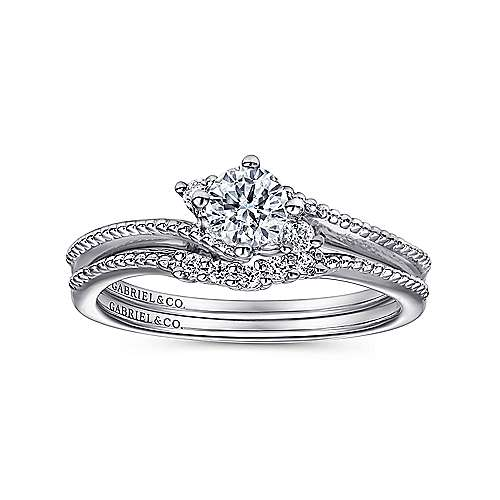 Brisbane 14k White Gold Round 3 Stones Engagement Ring angle 4