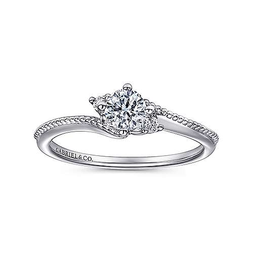 Brisbane 14k White Gold Round 3 Stones Engagement Ring angle 5
