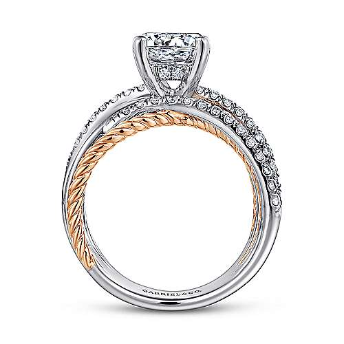 Bristol 14k White And Rose Gold Round Twisted Engagement Ring angle 2