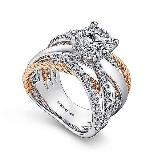 Bristol 14k White And Rose Gold Round Twisted Engagement Ring angle 3