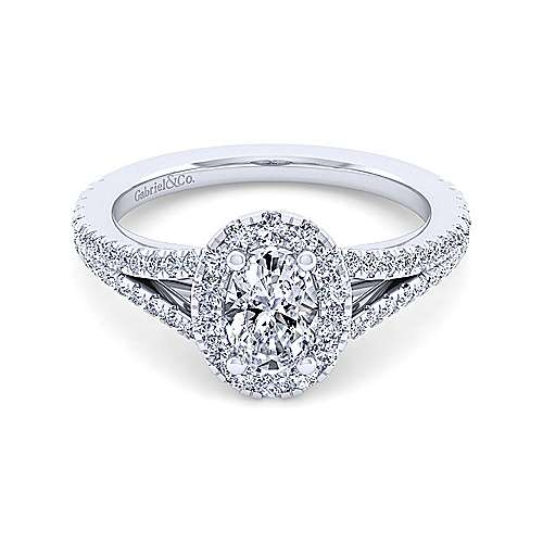 Gabriel - Britney 14k White Gold Oval Halo Engagement Ring