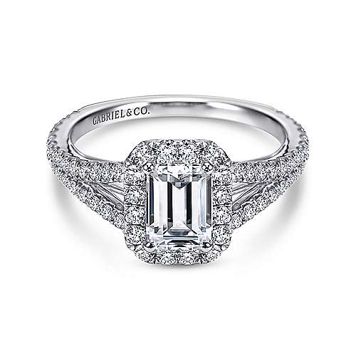 Gabriel - Britney 18k White Gold Emerald Cut Halo Engagement Ring