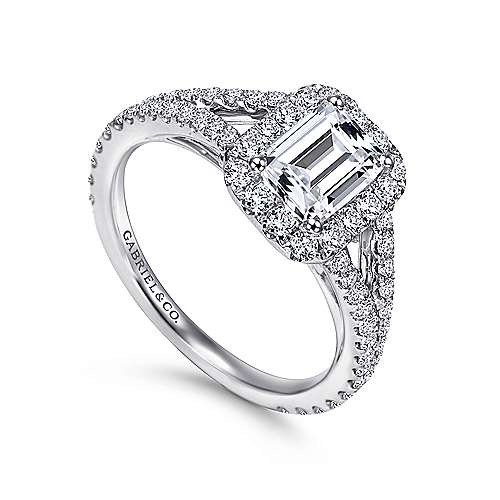 Britney 18k White Gold Emerald Cut Halo Engagement Ring angle 3