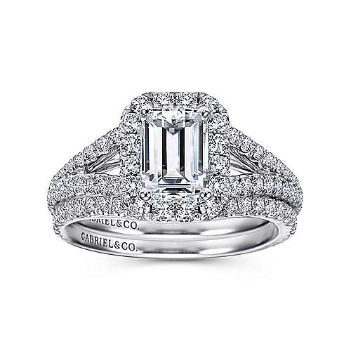 Britney 18k White Gold Emerald Cut Halo Engagement Ring angle 4