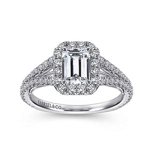 Britney 18k White Gold Emerald Cut Halo Engagement Ring angle 5