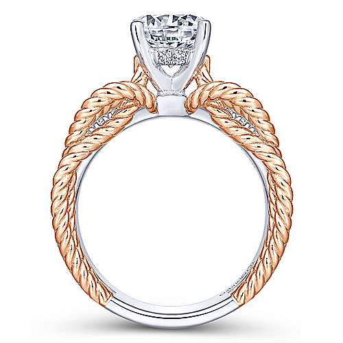 Brooke 14k White And Rose Gold Round Split Shank Engagement Ring angle 2