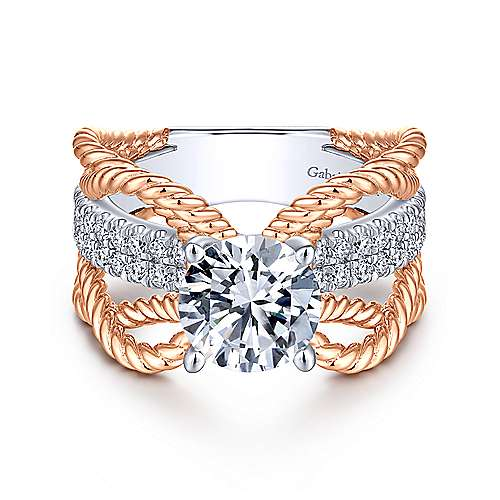 Brooke 14k White And Rose Gold Round Twisted Engagement Ring angle 1