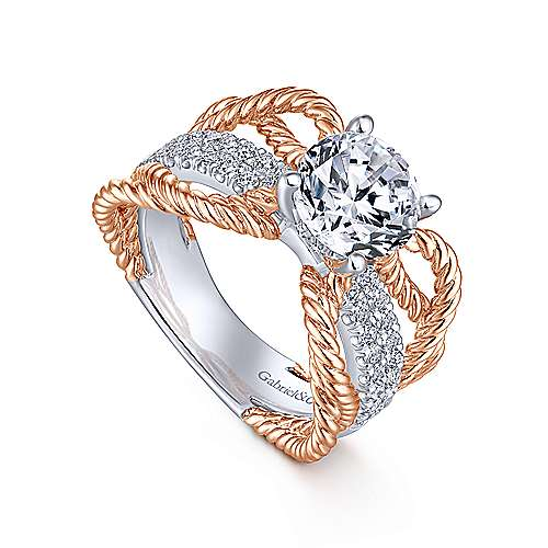 Brooke 14k White And Rose Gold Round Twisted Engagement Ring angle 3